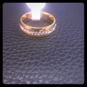 NWT gold tone sterling silver pave zircon ring